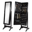 Black Cheval Mirror Jewelry Cabinet Armoire Stand Organizer Case