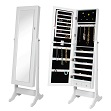 BTEXPERT Stylish Wooden Jewelry Armoire Cabinet Stand Organizer Storage Box Case Cheval Mirror Rings, Necklaces, Bracelets- White