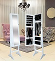 Unique Jewelry Armoire Floor Standing Cabinet Stand Organizer with Wooden Dressing Cheval Mirror- White