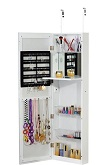 Platinum Jewelry Armiore Makeup Cabinet Cosmetic Organizer with Wooden Dressing Cheval Mirror Over The Door Wall Hanging Wallmount - White