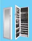White Cheval Mirror OverDoor Wall Mounted Hang Jewelry Cabinet Armoire