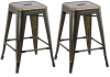 BTExpert 24-inch Industrial Metal Vintage Stackable Antique Premium Copper Distressed Counter Bar Stool Modern - Handmade Wood top seat( Set of 2 barstools )