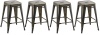 BTExpert 24-inch Industrial Metal Vintage Stackable Antique Premium Copper Distressed Counter Bar Stool Modern - Handmade Wood top seat( Set of 4 barstools )