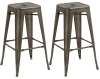 BTExpert 30-inch Industrial stacking Tabouret Metal Vintage Antique Copper Rustic Distressed Dining room Counter Bar Stool Modern (Set of 2 barstool)