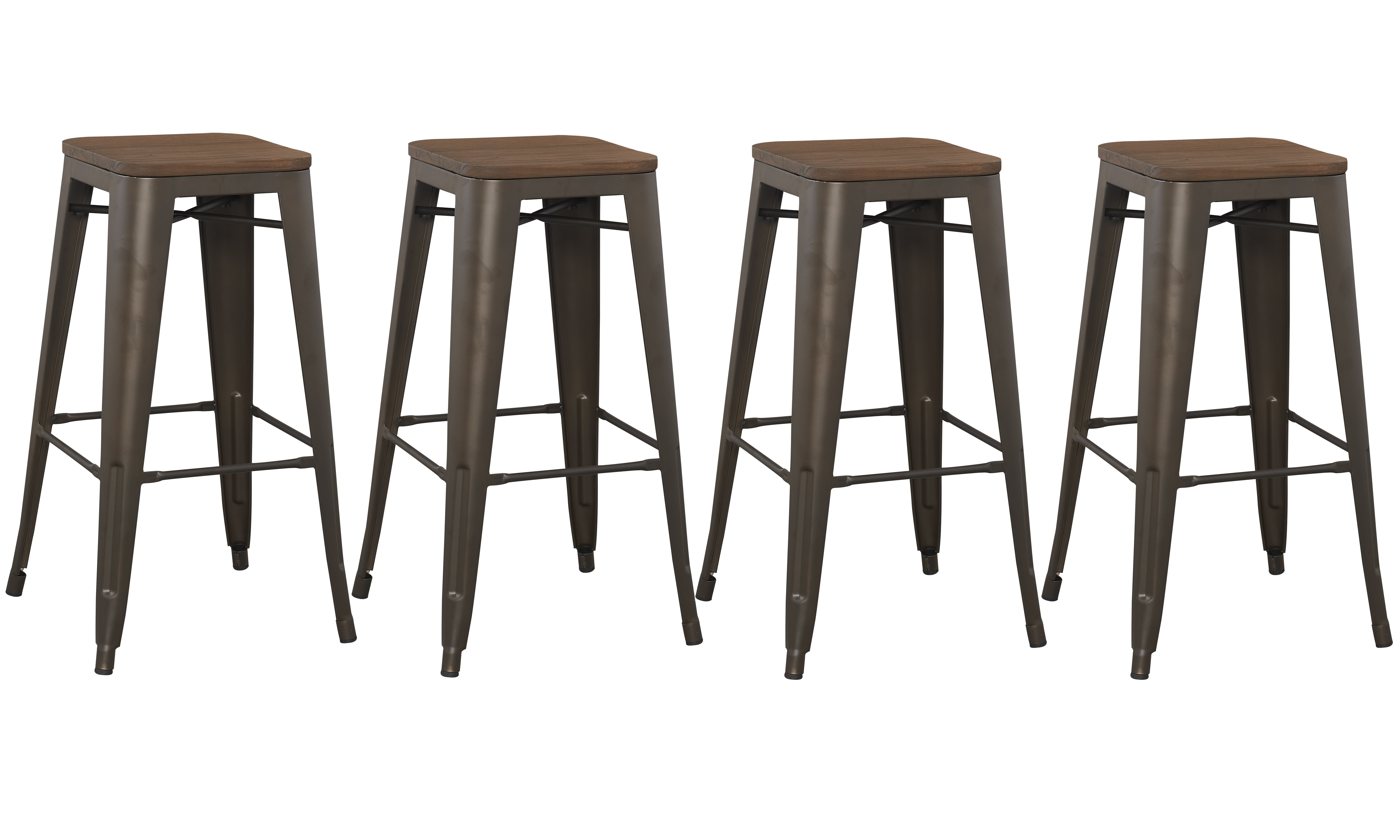 4 Pack 30 Inch Industrial Antique Vintage Rustic Metal Bar Stool With
