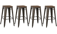 4-pack 30 inch Industrial Antique Vintage Rustic Metal Bar Stool with Hand carved Wood Top (set of 4)