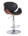 BTExpert Adjustable Height Swivel Walnut Bentwood Barstool with Curved Black padded Back and Seat