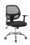 BTExpert Black Mesh Mid back Tilt Swivel Office Desk Task Chair Chrome base and arms