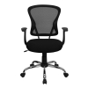 Black  Mesh Mid back Tilt Swivel Office Desk Task Chair Chrome base, Arm
