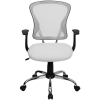 White Mesh Mid back Tilt Swivel Office Desk Task Chair Chrome base, Arm