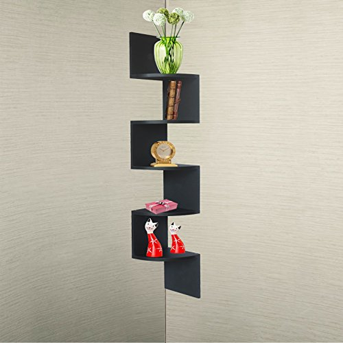 ... Garden > Black Finish Large Corner Zig Zag Wallmount Wall Shelf decor