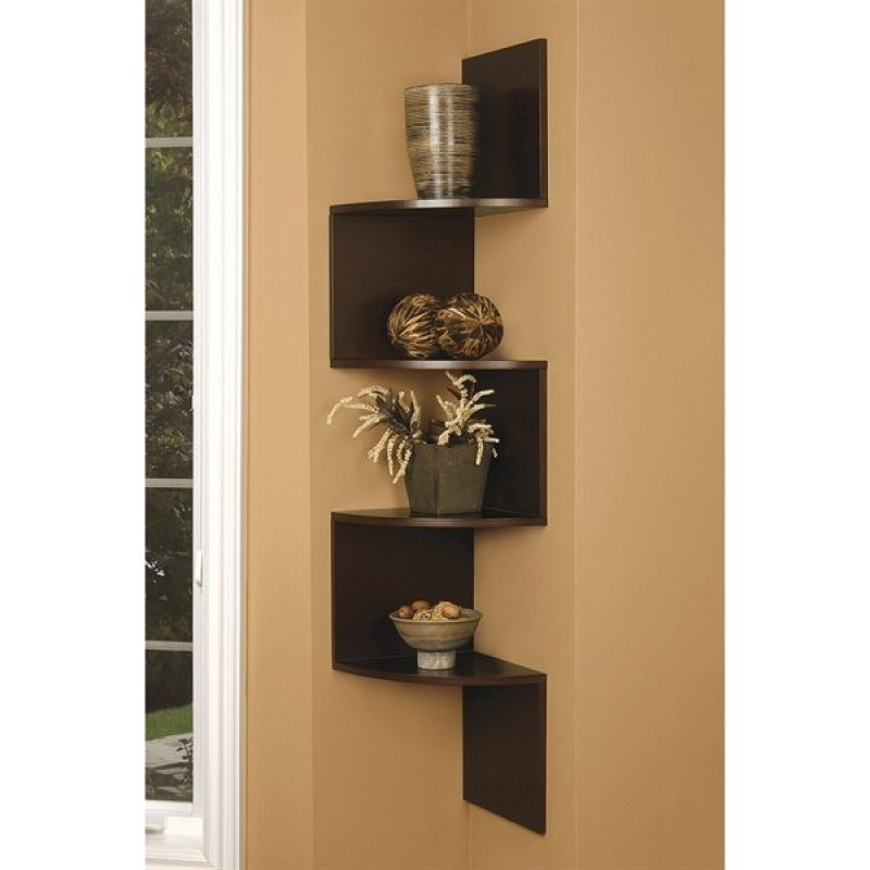 Brown finish large corner zig zag wallmount wall side Corner wall mounted shelves