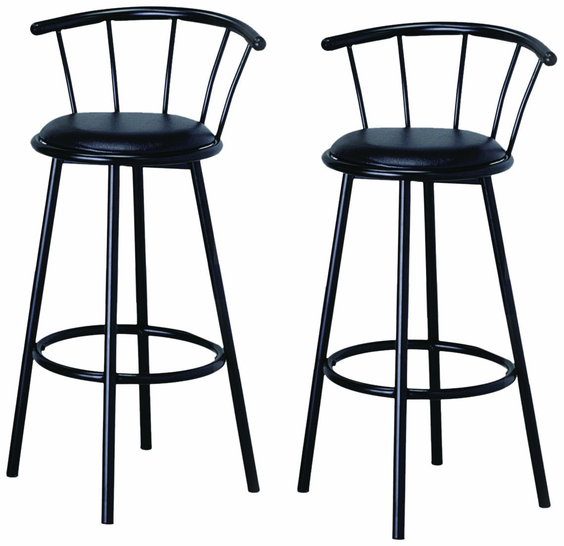 29 Inch Black Finish Swivel Dining Bar Stool Chairs Set