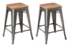 BTExpert 30-inch Industrial Stackable Tabouret Vintage Antique Brush Distressed Metal Bar Stools Multi Color wood top seat (Set of Two)