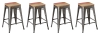 BTExpert 30-inch Industrial Stackable Tabouret Metal Vintage Antique Brush Distressed Counter Bar Stool Modern MultiColor Wood top seat (Set of 4 barstool)