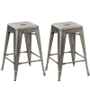 BTExpert 24-inch Industrial Antique Rustic Clear Brush Distressed Metal Bar Stools Stackable Tabouret Dining room (Set of Two)
