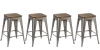 BTExpert 24-inch Industrial Metal Vintage Antique Rustic Style Clear Brush Distressed Counter Bar Stool Modern- Handmade Wood top seat (Set of 2 barstool)