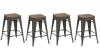 BTExpert 24-inch Metal Vintage Antique Style Gunmetal Counter Bar Stool Modern Handmade Wood top seat (Set of 4 barstool)