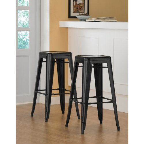 30 Inch Tabouret Metal Counter Bar Stools Modern Bright Glossy