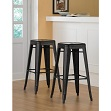 30-inch Tabouret Metal Counter Bar Stools - Modern Bright Glossy Black Style Stackable Studio Stool (Set of 2)
