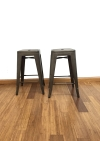 BTExpert 24-inch Industrial Antique Copper Distressed Metal Stackable Tabouret Dining room Modern Steel Bar stools (Set of Two Bar stools)