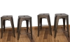 BTExpert 24-inch Industrial stacking Tabouret Metal Vintage Antique Copper Rustic Distressed Dining room Counter Bar Stool Modern (Set of 4 barstool)