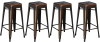 BTExpert 30-inch Industrial Metal Vintage Stackable Antique Premium Copper Distressed Counter Bar Stool Modern - Handmade Wood top seat( Set of 4 barstools )