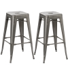 BTExpert Solid Steel Stackable Industrial Rustic Distressed Metal Tabouret Dining room Modern Steel Rustic BarStool (set of 2 Bar Stool)