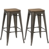 BTExpert Modern 30 inch Solid Steel Stacking Industrial Tabouret Rustic Metal Bar Stool with Wood Top (set of 2 barstool)