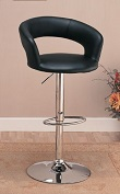 Curved Back Swivel Dining Bar stool, Hydraulic lift Adjustable Black and Chrome