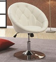 Round Back Swivel , Button Tufted Chair - White Hydraulic adjustable