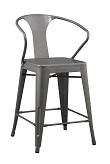 24 inch Solid Steel Stacking Industrial Silver Tabouret Dining room Modern Steel Metal Bar Chair with Arms (set of 2)