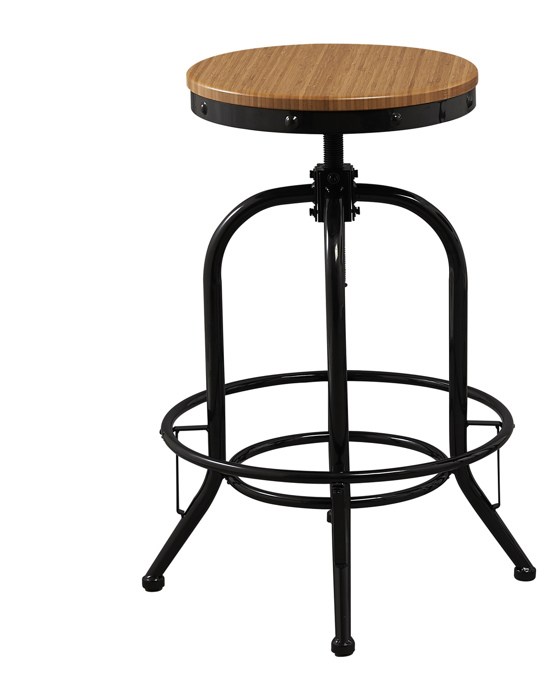 Solid industrial 24 26 30 or 32 bar stool counter bar height stool adjustable natural bamboo wood metal swivel barstool