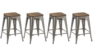 30-inch Industrial Stackable Tabouret Metal Vintage Antique Style Clear Brush Distressed Counter Bar Stool Modern wood top seat (Set of 4 barstool)