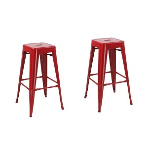 Red Metal Tabouret 30-inch Modern Counter Studio Bar Stools Bright Glossy Style Stackable (Set of Two)