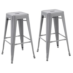 Silver 30-inch Tabouret Metal Vintage Antique Style Counter Bar Stool Modern French-Silver (Set of Two)