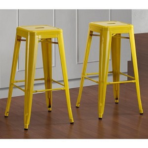 Pair of Lemon Tabouret Bright Glossy Studio Metal Stackable Bar Stools 30-inch (Set of 2)