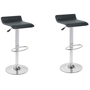 Hydraulic Lift Black faux leather Adjustable Height Swivel Bar Stool Thin Seat (Set of Two)