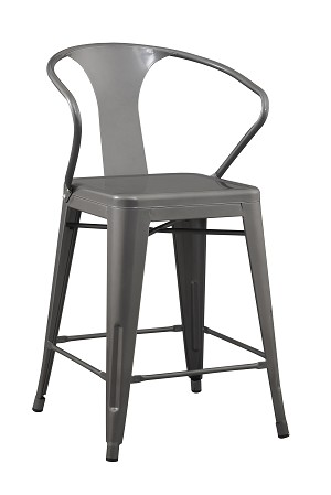 24 Inch Solid Steel Stacking Industrial Silver Tabouret Dining Room