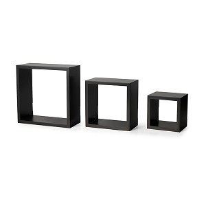 Chery Brown Set of three Modern Home Square Cube Wall  Shelves DVD CD BOOK Rack Storage decoration Corner Shelf Display Set