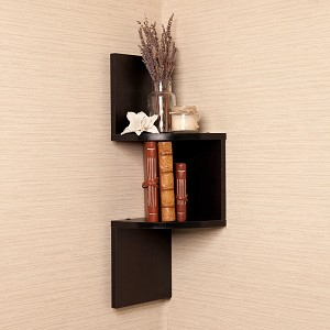 Brown Finish Corner Zig Zag Wallmount Wall Shelf decor