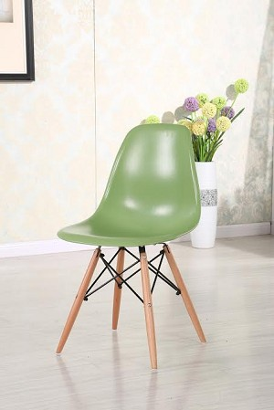 Plastic Chair DSW Retro Dining Side Chair with wood leg (set of 2)