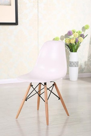 Plastic Chair DSW Retro Dining Side Chair with wood leg (set of 4)