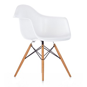 Plastic Chair DSW Retro Dining Chair with arms and wood leg (set of 2)
