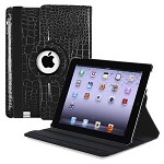IPAD 3rd 360 Degree Folding Rotating Crocodile Leather Sleep stand case w/ swivel