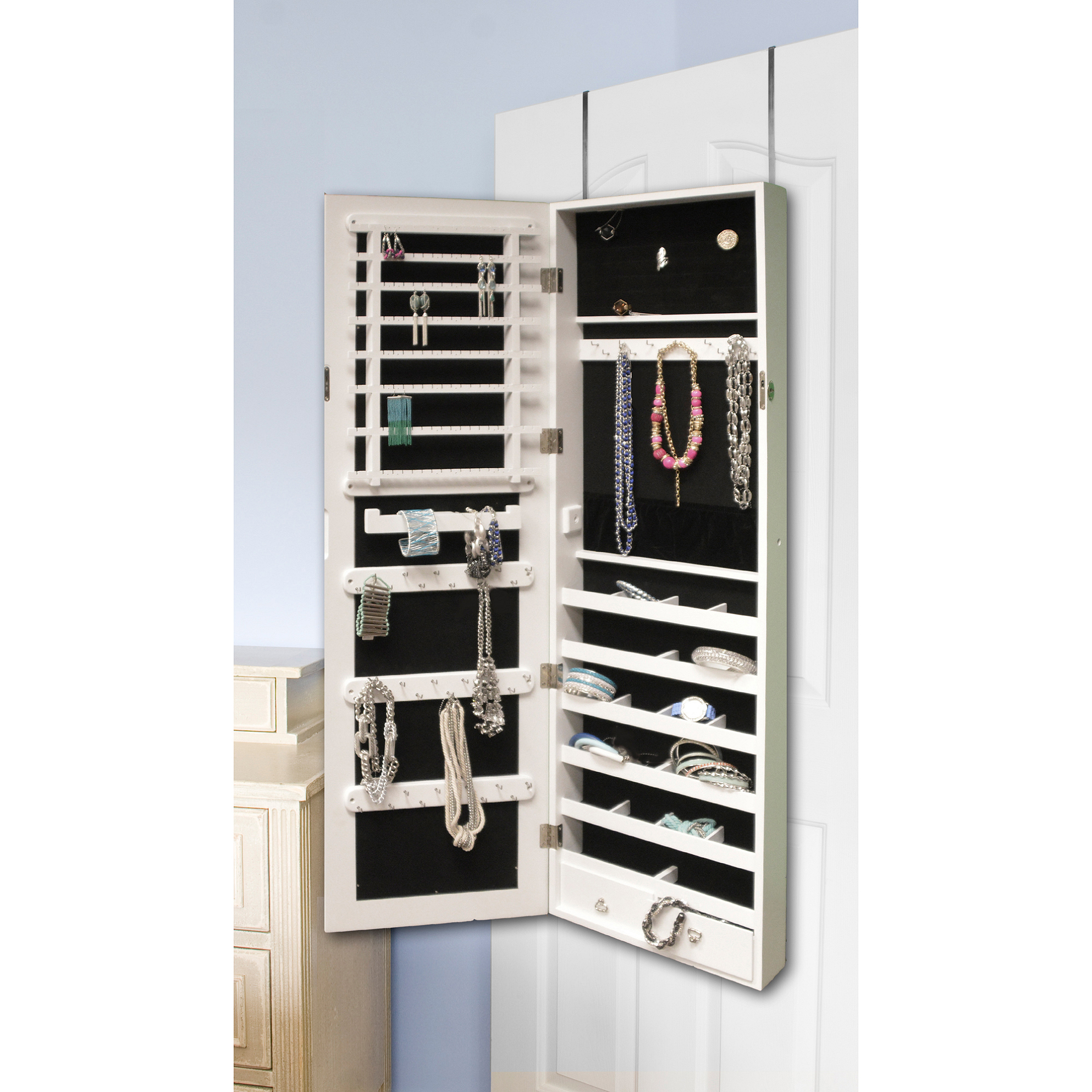 Premium White Cheval Mirror Over The Door Wall Mount Hanging Jewelry Cabinet Armoire Box Stand Organizer Case For Rings Necklaces Bracelets