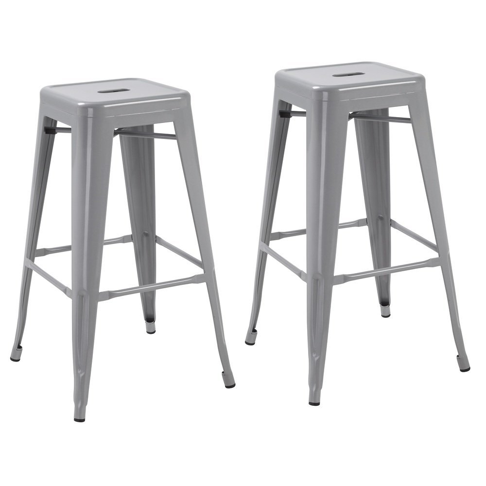 Silver 30 Inch Tabouret Metal Vintage Antique Style Counter Bar Stool Modern French Set Of Two